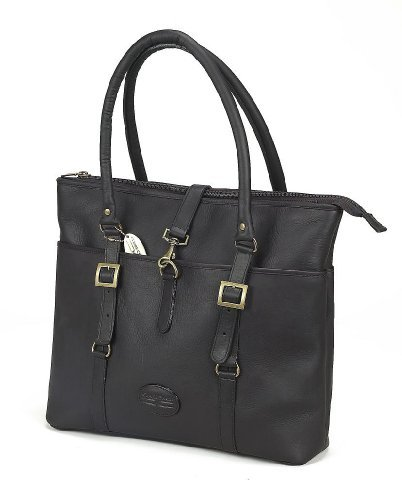 Claire Chase Ladie's Vaqueta Leather Lptop Tote Bag (Cafe)