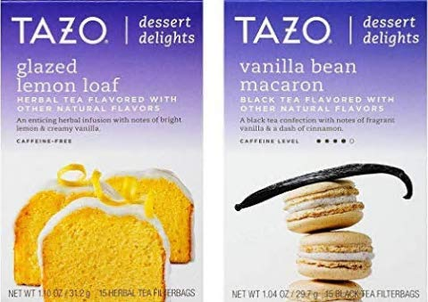 (Tazo Dessert Inspired Flavored Tea 2 Flavor Variety Bundle, (1) each: Glazed Lemon Loaf and Vanilla Bean Macaron (15 Count))