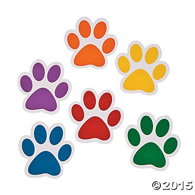 Paper Paw Print Cutouts - 48 pc (Puppy Paw Pin)