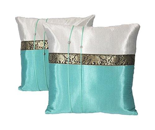 One Pair Elephant Small Stripe Throw Cushion Cover/Pillow Case Thai Silk for Decorative Sofa, Car and Living Room Size 16 X 16 Inches (Teal) (Thai Silk Throw Pillow)