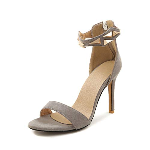 Verano 33 Mujer Sandalias 2018 Tamaño 43 De Metal Thin Zapatos Gray High Heelsparty Zip Grande Decoración Up Hoesczs qPptOWO