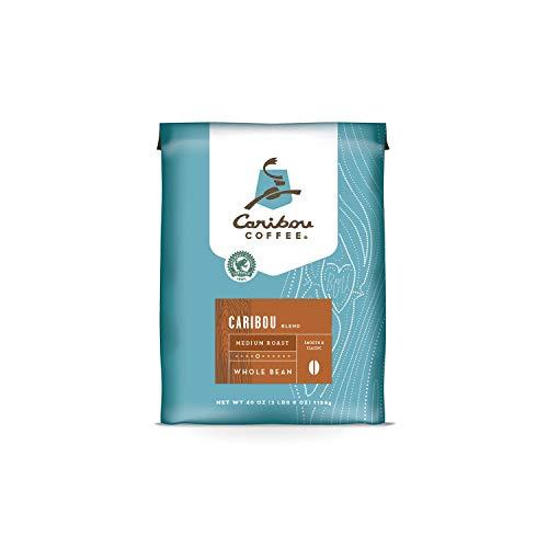 Caribou Coffee, Caribou Blend, Whole Bean, Value Pack 40 oz. Bag, Smooth & Balanced Medium Roast Coffee Blend from the Americas & Indonesia, with A Syrupy Body & Clean Finish; Sustainable Sourcing. ()