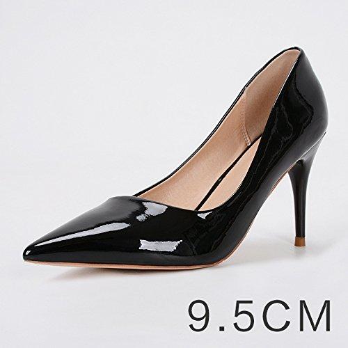 GAOLIM Los Zapatos De Mujer Negra Fina, Con Un Pequeño Número De Ol Carrera Entrevista De Trabajo En El Alto Talón Zapatos Cómodos Zapatos De Vestir 9,5 cm/Negro/B