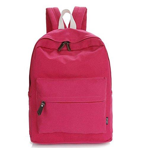 Heheja Lona Escolares Mochila Color Sólido Viaje Mochila Ocio Deportes Bolsa Rosa Roja