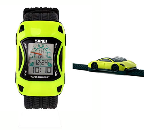LGYNTO Kids Watches Boys Waterproof Sports Digital LED Wristwatches 7 Colors Flashing Car Shape Wrist Watches for Children,for Age 3-10 (Green) ()