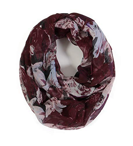 Scarfand's Mixed Color Oil Painting Infinity Scarf (BrushStroke Rose Plum) (Womens Scarves Infinity)