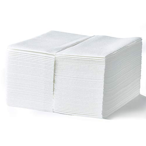 Linen Feel Guest Towels by Hashtag Home - White Disposable Air-laid Cloth Like Paper Napkins - Absorbent and Fancy, Ideal for Bathroom, Kitchen, Weddings, Graduations, Dinners or Events - Pack of 200 ()