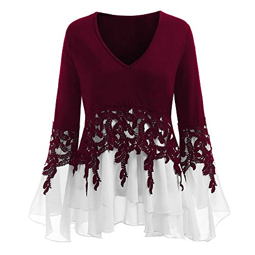 HGWXX7 Women's Fashion Plus Size V Neck Long Sleeve Chiffon Blouse Shirt Tops (L, Wine Red) ()