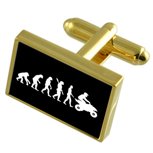 (Evolution Ape to Man Quad Bike Gole-tone Cufflinks Tie Clip Box Set Engraved Optional)