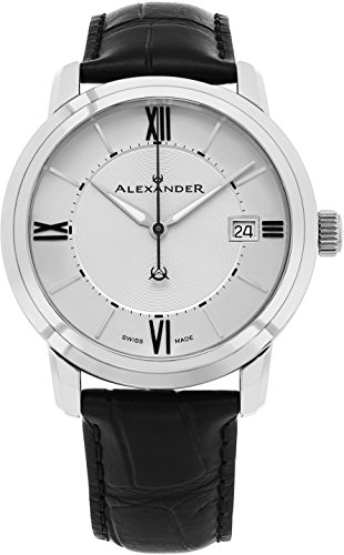 Alexander Heroic Macedon Stainless Steel Mens Dress Watch Black Leather Band - 40mm Analog Silver Face with Second Hand Date and Sapphire Crystal - Classic Swiss Made Quartz Watches for -