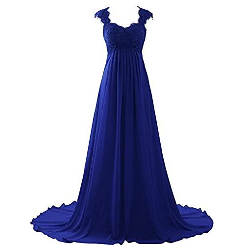 Erosebridal Empire Waist Beach Wedding Dress Lace Chiffon Prom Gowns Size 12 Royal Blue