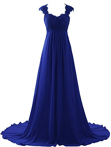 - Erosebridal Empire Waist Beach Wedding Dress Lace Chiffon Prom Dress Gowns Size 2 Royal Blue