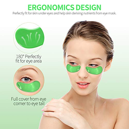 41FLxddfEbL - FRESHME Matcha Eye Mask - 20 Pairs Under Eye Patches Aloe Vera Extract Gel Masks for Anti Aging Reduce Puffiness Dark Circles Hyaluronic Acid Deep Hydration Eye Pads Treatment Mask for Women and Men