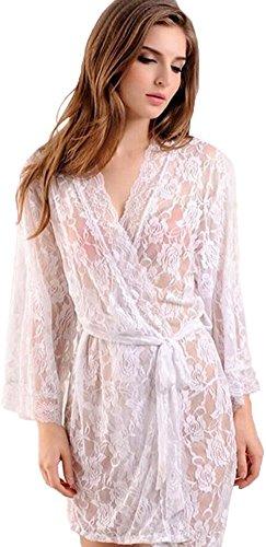 Women's Robe Bridal Lingerie Sleepwear Short Robe,White