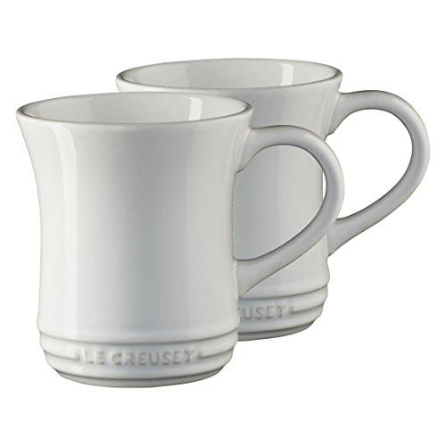 Le Creuset White Stoneware 14 Ounce Tea Mug, Set of 2
