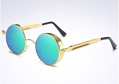Diseño Circle Unisex la Gafas Polarizadas para de mujeres UV400 Azul de y Steampunk de vintage Dorado Gafas BAINASIQI marca hombres Sol Round sol d0Zgnxfqq