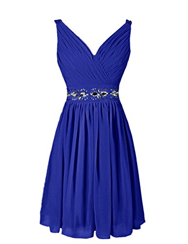 Dressystar Short Prom Party Gowns V-neck Bridesmaid Dresses Beading waist Size 10 Royal blue