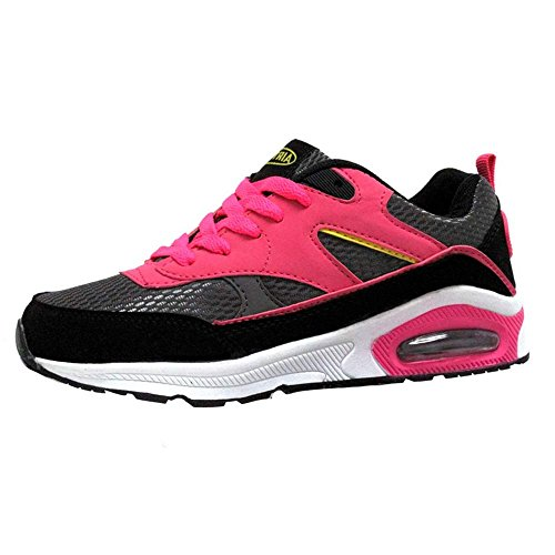 Ladies Running Trainers Air Tech Womens Shock Absorbing Fitness Gym Sports Shoes Size 3 4 5 6 7 8 Black / Yellow