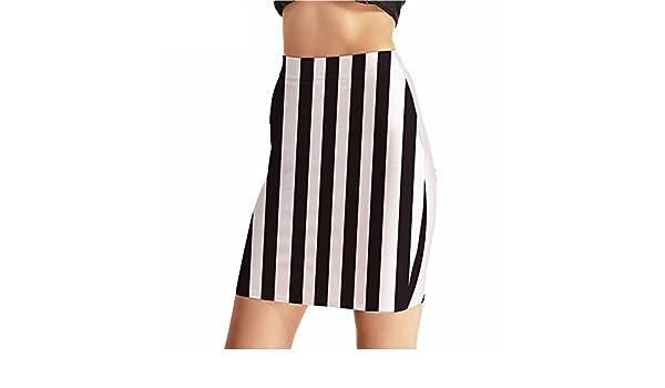 0f51419e37 Women Summer Fashion Black and White Vertical Striped Mini Pencil Skirt at  Amazon Women's Clothing store: