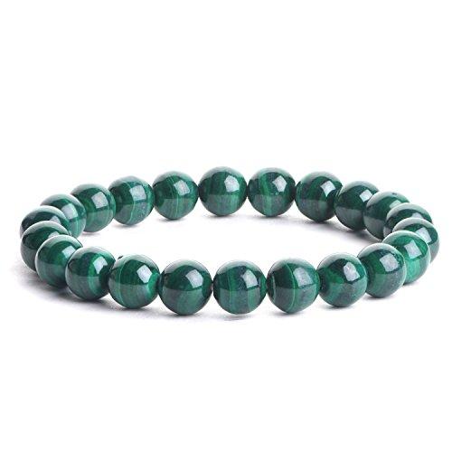 iSTONE Natural Semi Precious Stone Malachite Elastic Beaded Bracelet 7 Inch for Women Men