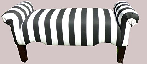 Black and White Striped Vanity Rolled Arm Bedroom Bench