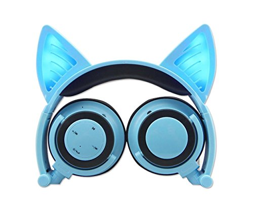 Cat Ear Headphones,Wireless Bluetooth Headset Flashing Glowing Cosplay Fancy LED Light USB Charger Earphone for Girls Children,Compatible for iPhone and Other Android Phones (Blue)