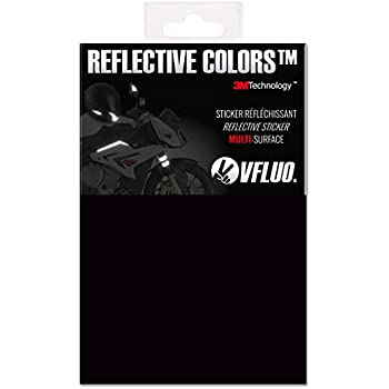 VFLUO 3M REFLECTIVE COLORS, Universal adhesive DIY kit for Helmet/motorbike/Scooter/Bike, 3M Technology, 10 x 15 cm sheet, Black