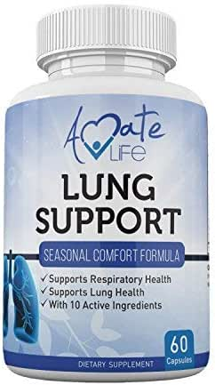 Lung Support Dietary Supplements Herbal Breathing Support 10 Active Ingredients Original Formula for Lung Health Lung Cleanse Formula Supplement for Bronchial System 60 Capsules Non GMO by Amate Life