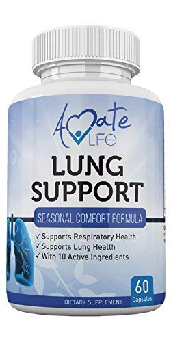 Lung Support Dietary Supplements- Herbal Breathing Support- 10 Active Ingredients- Original Formula for Lung Health- Lung Cleanse Formula- Supplement for Bronchial System 60 Caps Non GMO by Amate Life