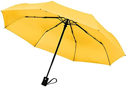 Crown Coast Yellow Travel Umbrella - 60 MPH Windproof Lightweight for Men Women and Kids, Compact Travel Umbrellas in Multiple (Corrosion Blocker)
