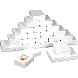 25 White Swirl Cotton Charm Jewelry Boxes Gift Display 2 1/8″ x 1 5/8″ x 3/4″