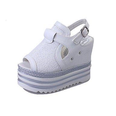 Sandalias Primavera Verano Otoño Club zapatos confort al tobillo suelas de luz exterior PU Casual Tacón cuña Botón hebilla de correa trenzada Lace-up Black