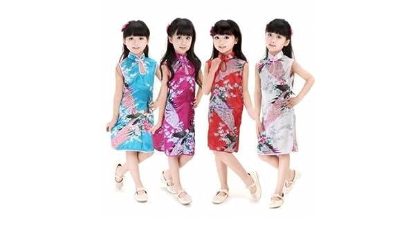 Vestido chino para niña de pavo real Cheongsam Qipao ropa ...