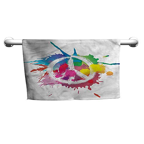 - Cute Hand Towels Groovy,Grunge Pacifism Theme,Shower Towel wrap for Women