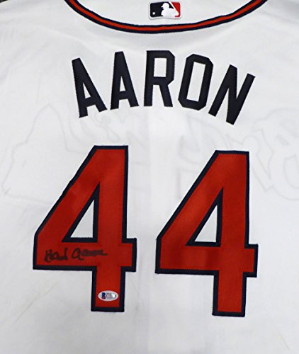 ATLANTA BRAVES HANK AARON AUTOGRAPHED WHITE MAJESTIC AUTHENTIC COOL BASE JERSEY SIZE 52 BECKETT BAS STOCK #126602