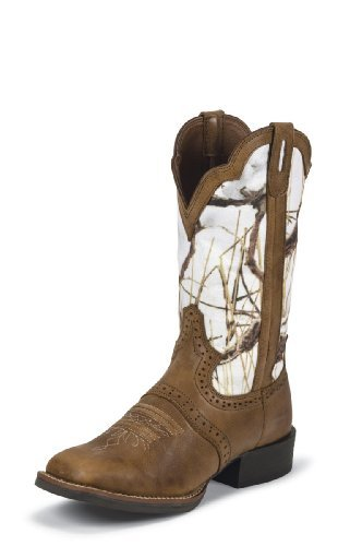 Justin Women's Stampede White Camo Boots Size 11B (Justin Boots Stampede Womens)