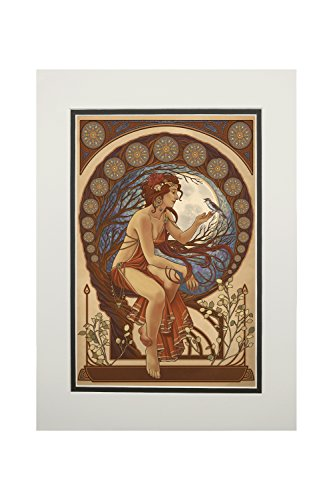 Woman and Bird - Art Nouveau (11x14 Double-Matted Art Print, Wall Decor Ready to Frame) ()