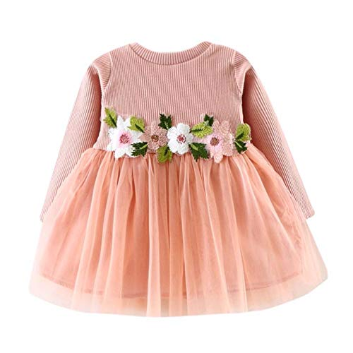 RAINED-Toddler Baby Girls Princess Dress Dot Tulle Tutu Skirt Ruched Patchwork Lace Party Clothes D Pink