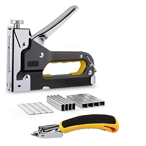 Ninevr Heavy Duty Staple Gun for Upholstery, Construction, Furniture, Boxes, Cardboard, and DIY Projects, Strong Manual Stapling with Adjustable Pressure for Rivet Frame Nails