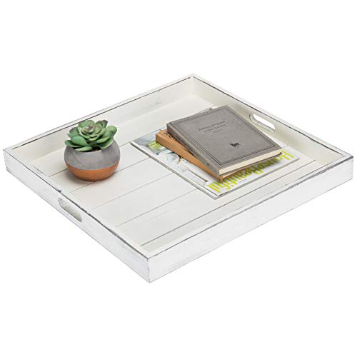 MyGift Vintage White 19-Inch Square Ottoman/Serving Tray with Cutout Handles (Tray Ottoman For Tables)