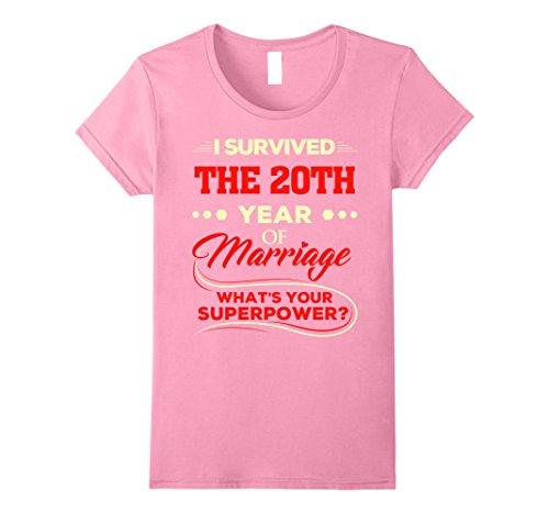 Womens Wedding Anniversary T-Shirt 20th Year Of Marriage Tee Gift Medium Pink