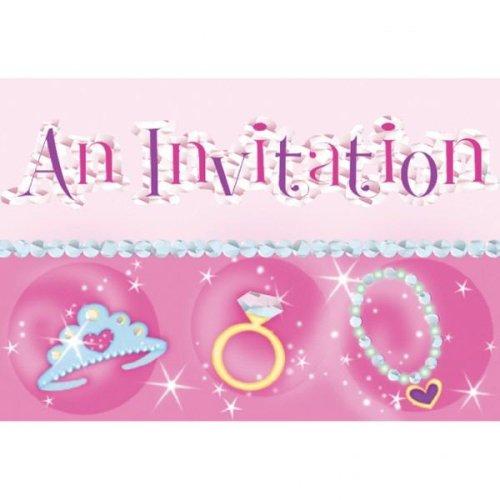 Invitaciones Cumpleaños princesas - pack de 8 - incluye ...