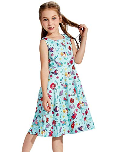 Kids Girls Mermaid Dress Green Sea Fish Pattern Sleeveless Swing Dresses Casual A-line Midi Skirt for School Party 8-9 T