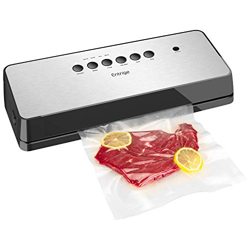 Vacuum Sealer Machine By Entrige, Automatic Food Sealer for Food Savers w/Starter Kit, Dry Moist Food Modes, Easy to Clean, Led Indicator Lights, Compact Design, Silver(Stainless Steel)