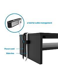 1home soporte elevador para monitor de computadora o computadora portátil, Negro