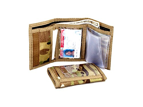 Rainbow Tri Fold Wallet - Military Multicam Camouflage Trifold Hook n Loop ID Wallet. Made in USA
