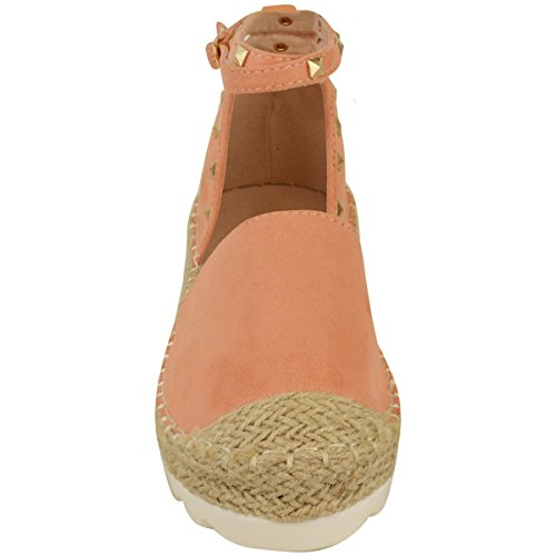 New Womens Ladies Espadrilles Ankle Strappy Sandals Rock Stud Summer Shoes Size Peach Faux Suede / Gold Colour Studs EM9HUm