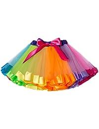 Girls Layered Rainbow Tutu Skirt Bow Dance Ruffle