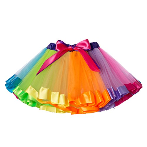 JiaDuo Girls Layered Rainbow Tutu Skirt Bow Dance Ruffle,Rainbows,Large/4-6 Years -