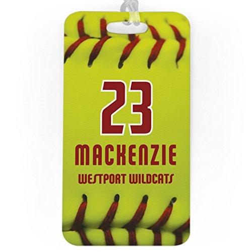 (Softball Luggage & Bag Tag | Personalized Softball Stitches | No Personalization on Back | LARGE)